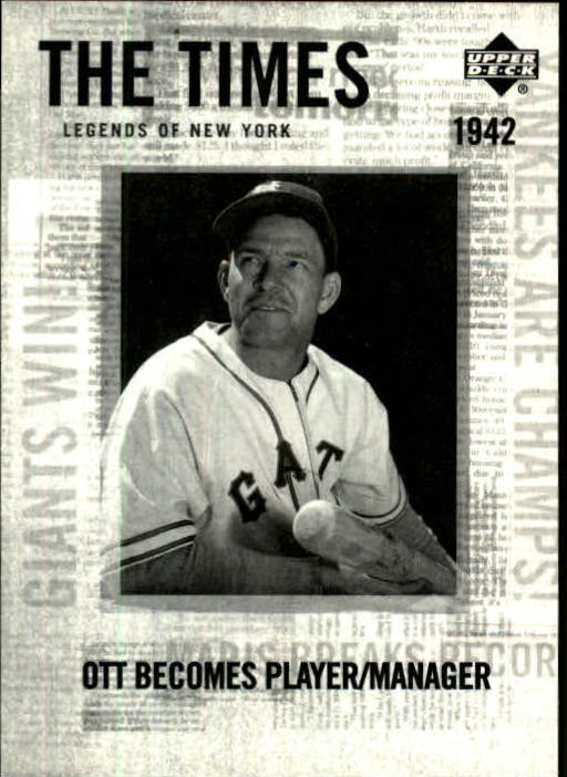 2001 Upper Deck Legends of NY #178 Mel Ott TT