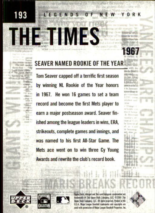 2001 Upper Deck Legends of NY #193 Tom Seaver TT back image