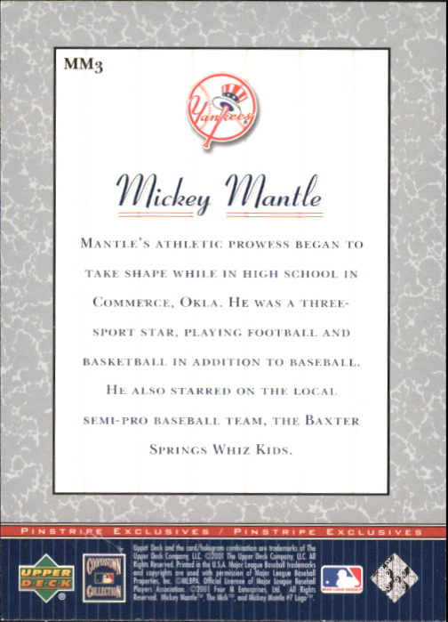 2001 Upper Deck Pinstripe Exclusives Mantle #MM3 Mickey Mantle back image