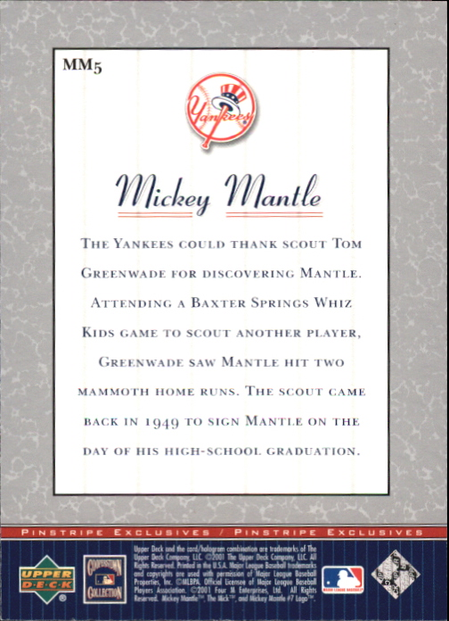 2001 Upper Deck Pinstripe Exclusives Mantle #MM5 Mickey Mantle back image