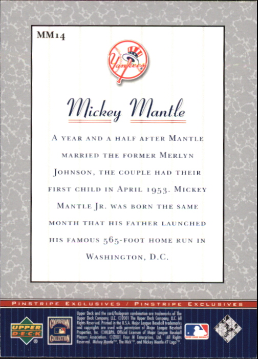 2001 Upper Deck Pinstripe Exclusives Mantle #MM14 Mickey Mantle back image