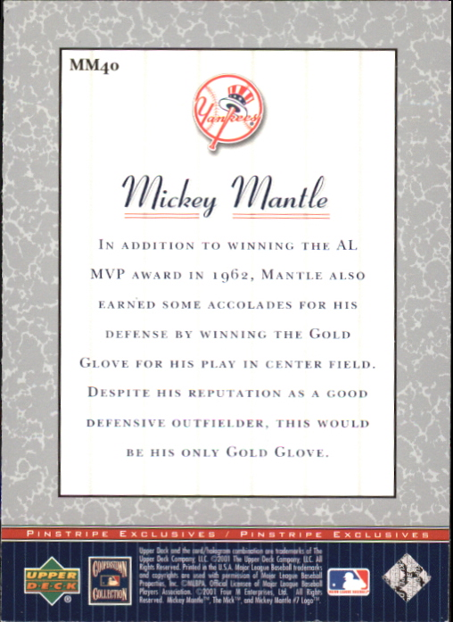 2001 Upper Deck Pinstripe Exclusives Mantle #MM40 Mickey Mantle back image
