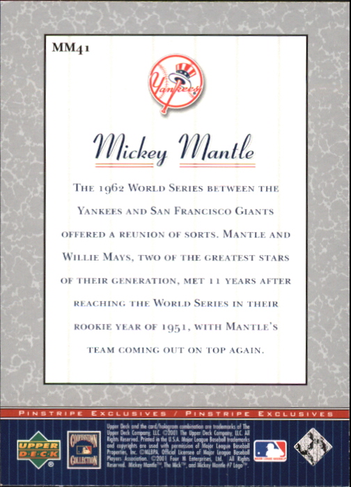 2001 Upper Deck Pinstripe Exclusives Mantle #MM41 Mickey Mantle back image