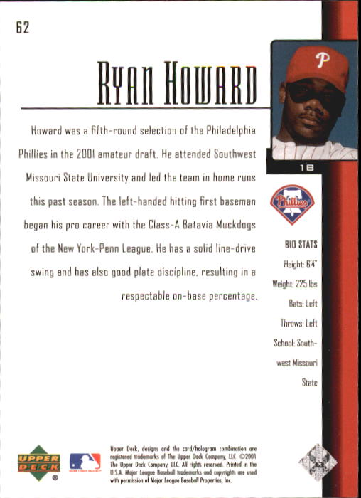 2001 Upper Deck Prospect Premieres #62 Ryan Howard XRC back image