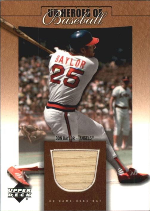 2001 Upper Deck Prospect Premieres Heroes of Baseball Game Bat #BDB Don Baylor