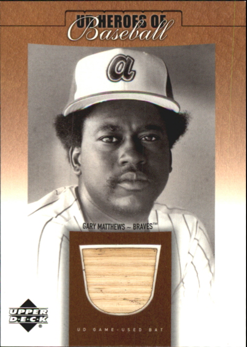 2001 Upper Deck Prospect Premieres Heroes of Baseball Game Bat #BGM Gary Matthews