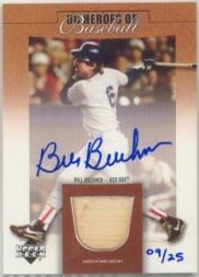 2001 Upper Deck Prospect Premieres Heroes of Baseball Game Bat Autograph #SBBB Bill Buckner