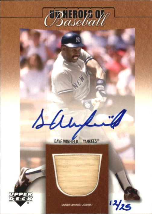 2001 Upper Deck Prospect Premieres Heroes of Baseball Game Bat Autograph #SBDW Dave Winfield