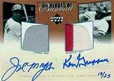 2001 Upper Deck Prospect Premieres Heroes of Baseball Game Jersey Duos Autograph #SJMG Joe Morgan/Ken Griffey Sr