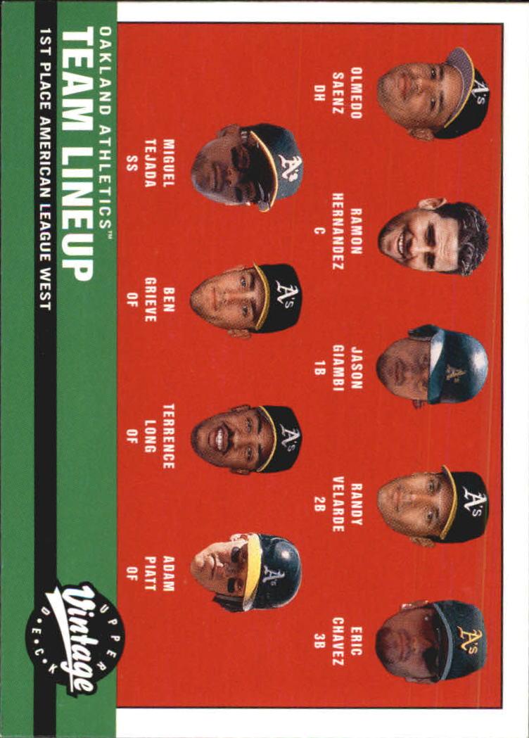 2001 Upper Deck Vintage #23 Oakland Athletics CL
