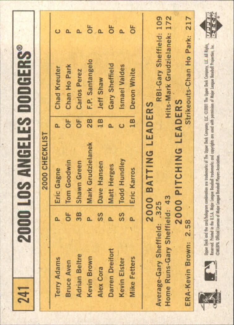 2001 Upper Deck Vintage #241 Los Angeles Dodgers CL back image