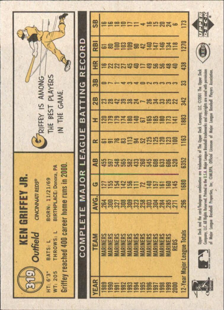 2001 Upper Deck Vintage #319 Ken Griffey Jr. back image
