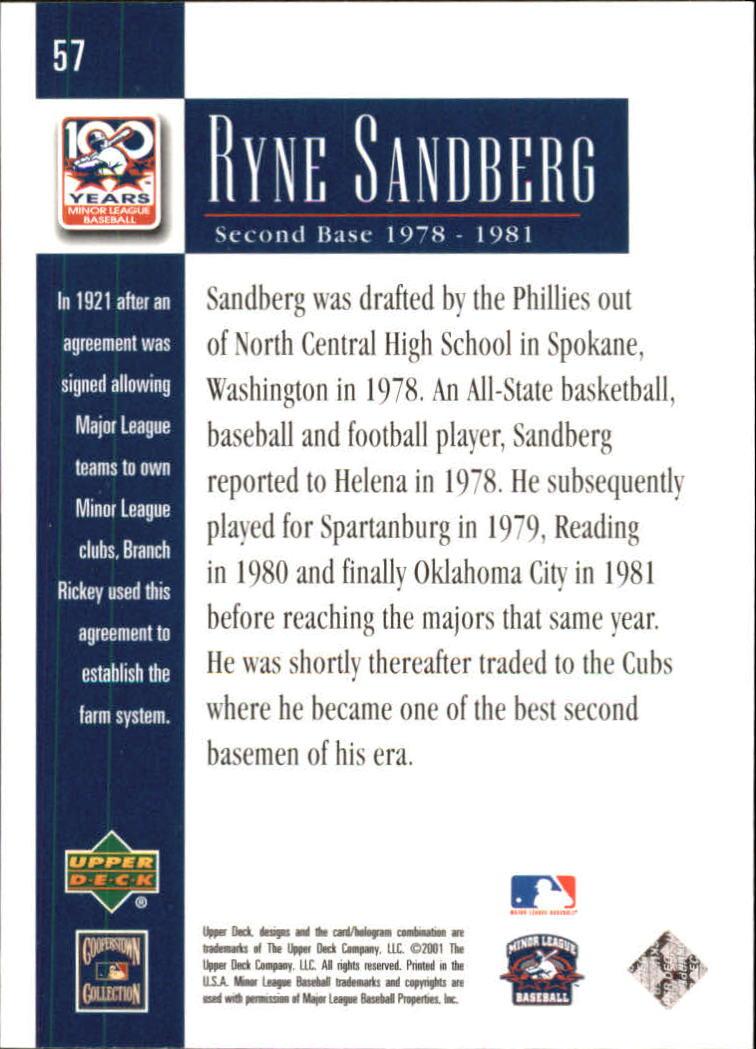 2001 Upper Deck Minors Centennial #57 Ryne Sandberg back image