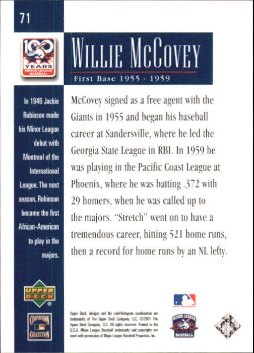 2001 Upper Deck Minors Centennial #71 Willie McCovey back image