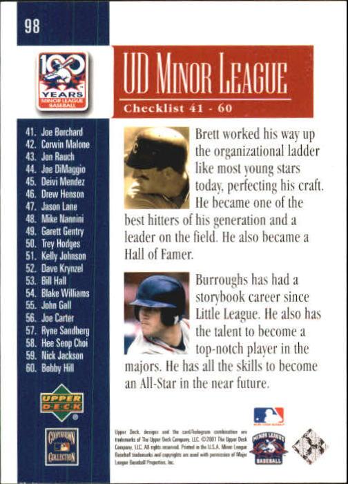2001 Upper Deck Minors Centennial #98 G.Brett/S.Burroughs back image