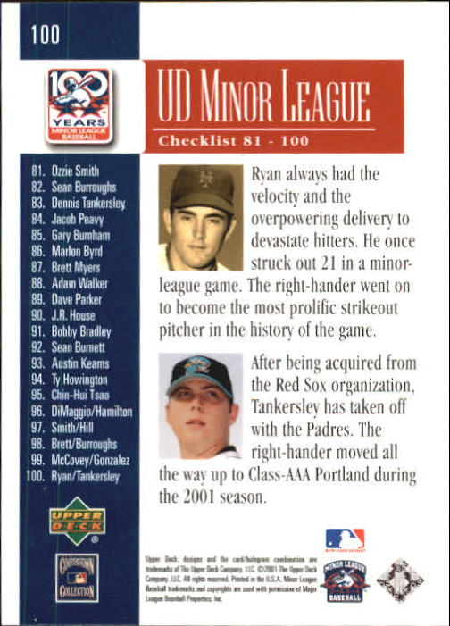 2001 Upper Deck Minors Centennial #100 N.Ryan/D.Tankersley UER back image