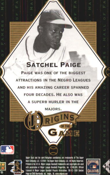 2001 Upper Deck Hall of Famers #56 Satchel Paige OG back image