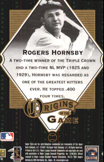 2001 Upper Deck Hall of Famers #57 Rogers Hornsby OG back image