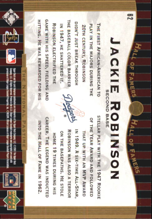 2001 Upper Deck Hall of Famers #62 Jackie Robinson NP back image