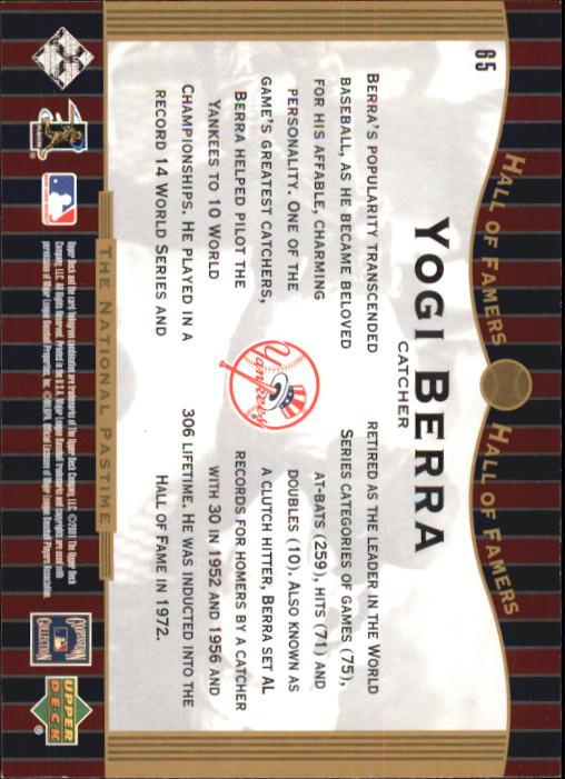2001 Upper Deck Hall of Famers #65 Yogi Berra NP back image