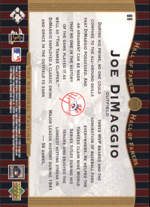 2001 Upper Deck Hall of Famers #69 Joe DiMaggio NP back image