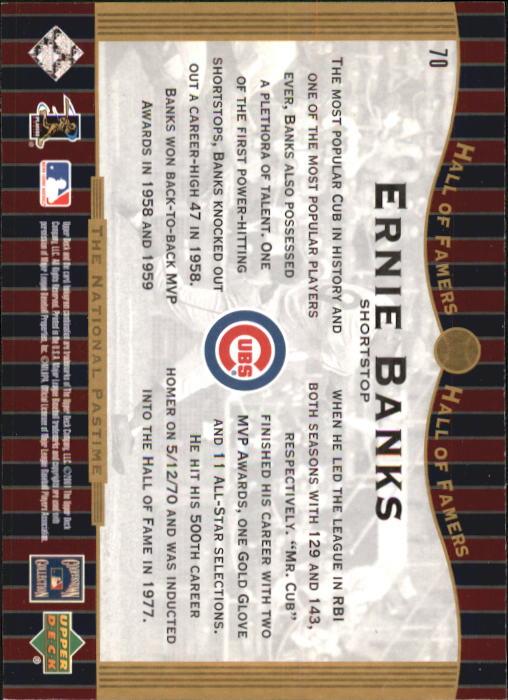 2001 Upper Deck Hall of Famers #70 Ernie Banks NP back image