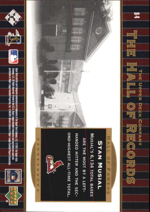 2001 Upper Deck Hall of Famers #84 Stan Musial HR back image