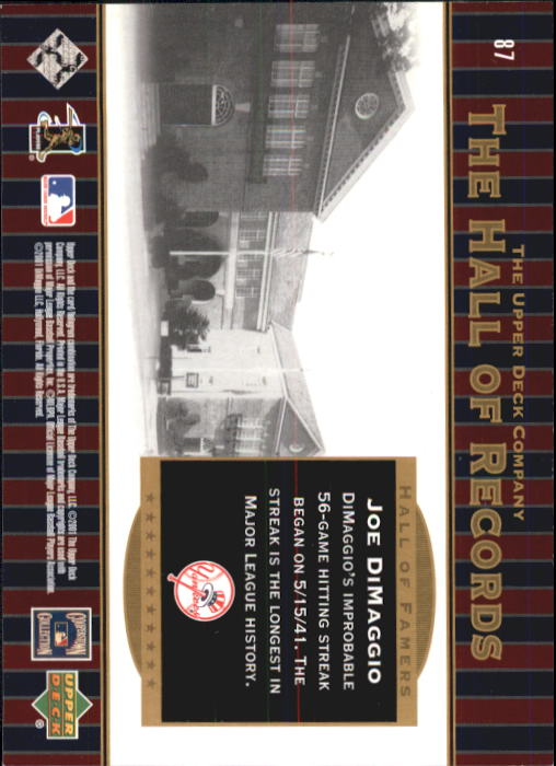 2001 Upper Deck Hall of Famers #87 Joe DiMaggio HR back image