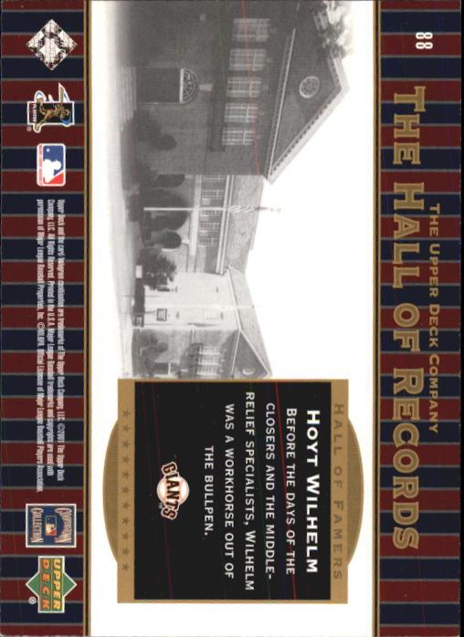 2001 Upper Deck Hall of Famers #88 Hoyt Wilhelm HR back image