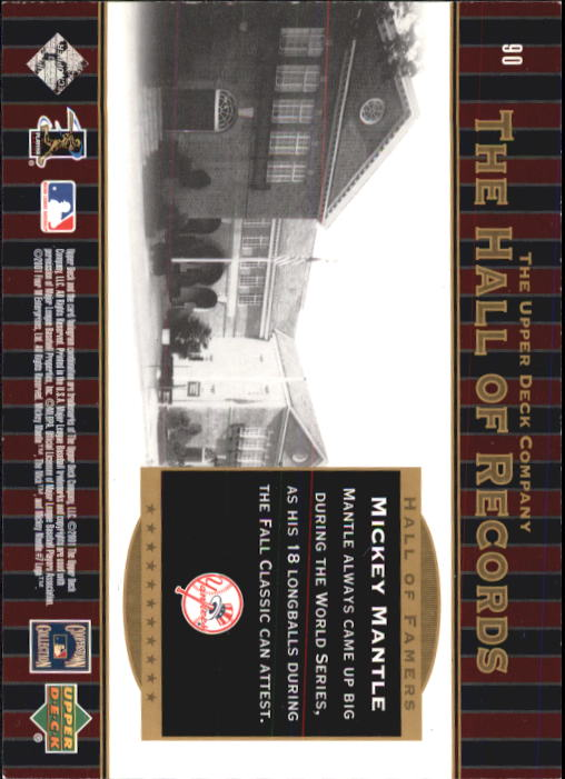 2001 Upper Deck Hall of Famers #90 Mickey Mantle HR back image