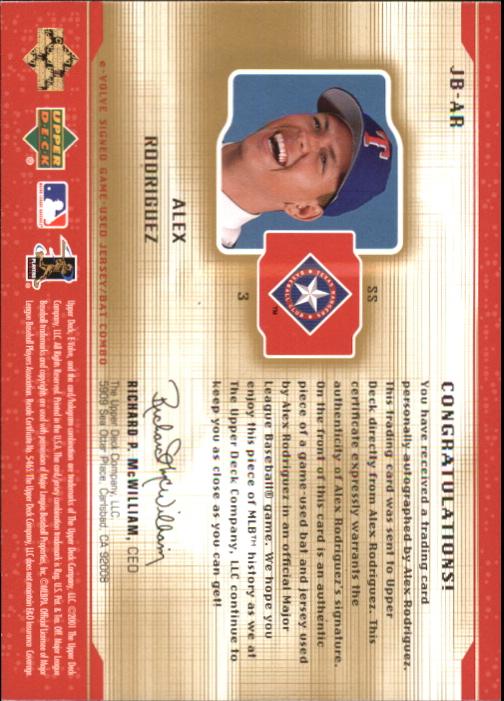 2001 Upper Deck Evolution e-Card Game Bat-Jersey Autograph #JBAR Alex Rodriguez back image