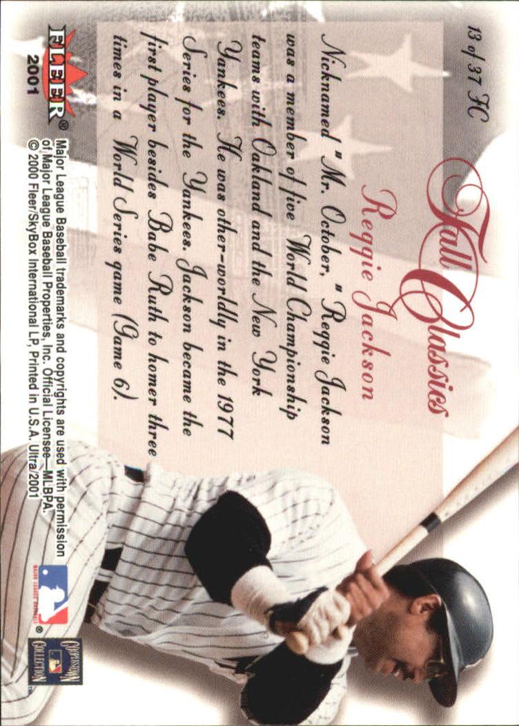 2001 Ultra Fall Classics #FC13 Reggie Jackson back image