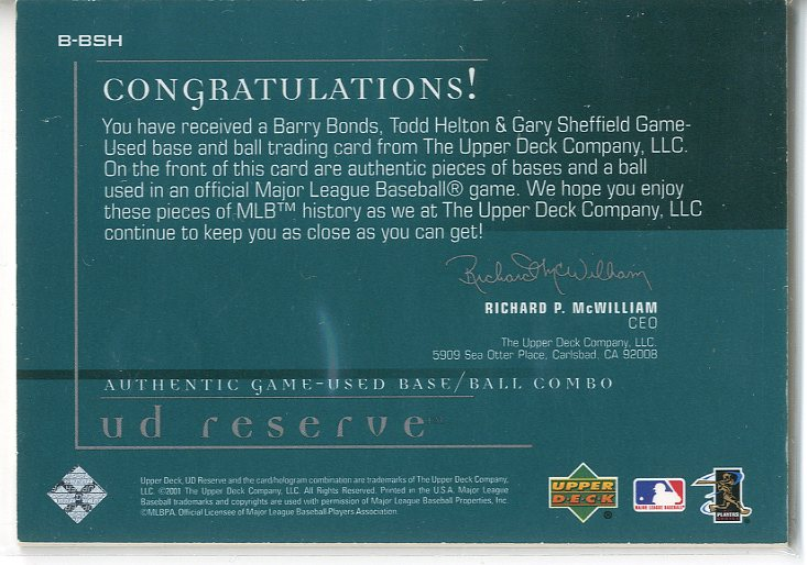 2001 UD Reserve Ball-Base Trios #BSH Barry Bonds/Gary Sheffield/Todd Helton back image