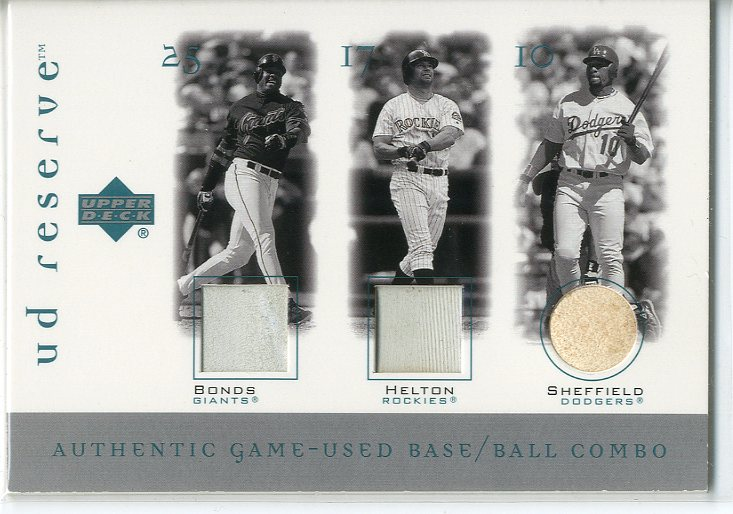 2001 UD Reserve Ball-Base Trios #BSH Barry Bonds/Gary Sheffield/Todd Helton