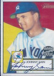 2001 Topps Heritage Autographs #THAJS Johnny Sain