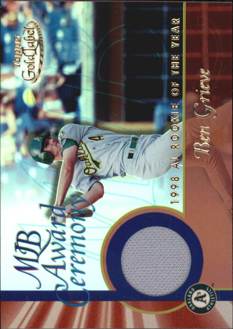 2001 Topps Gold Label MLB Award Ceremony Relics #BG Ben Grieve ROY Jsy
