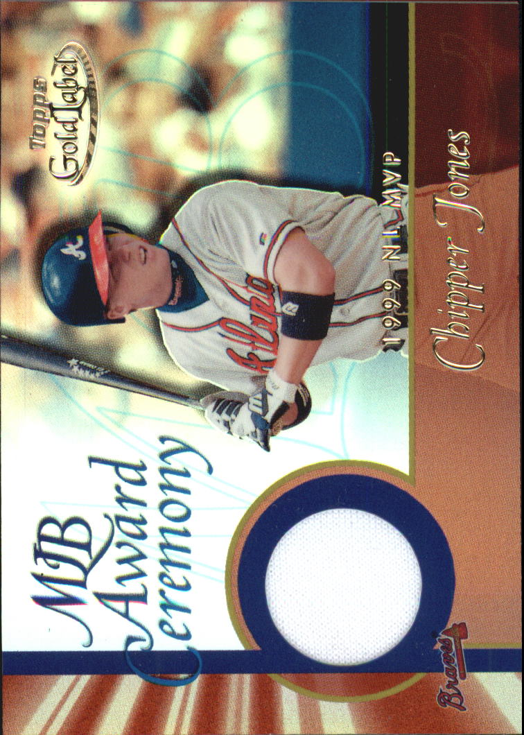 2001 Topps Gold Label MLB Award Ceremony Relics #CJ Chipper Jones MVP Jsy