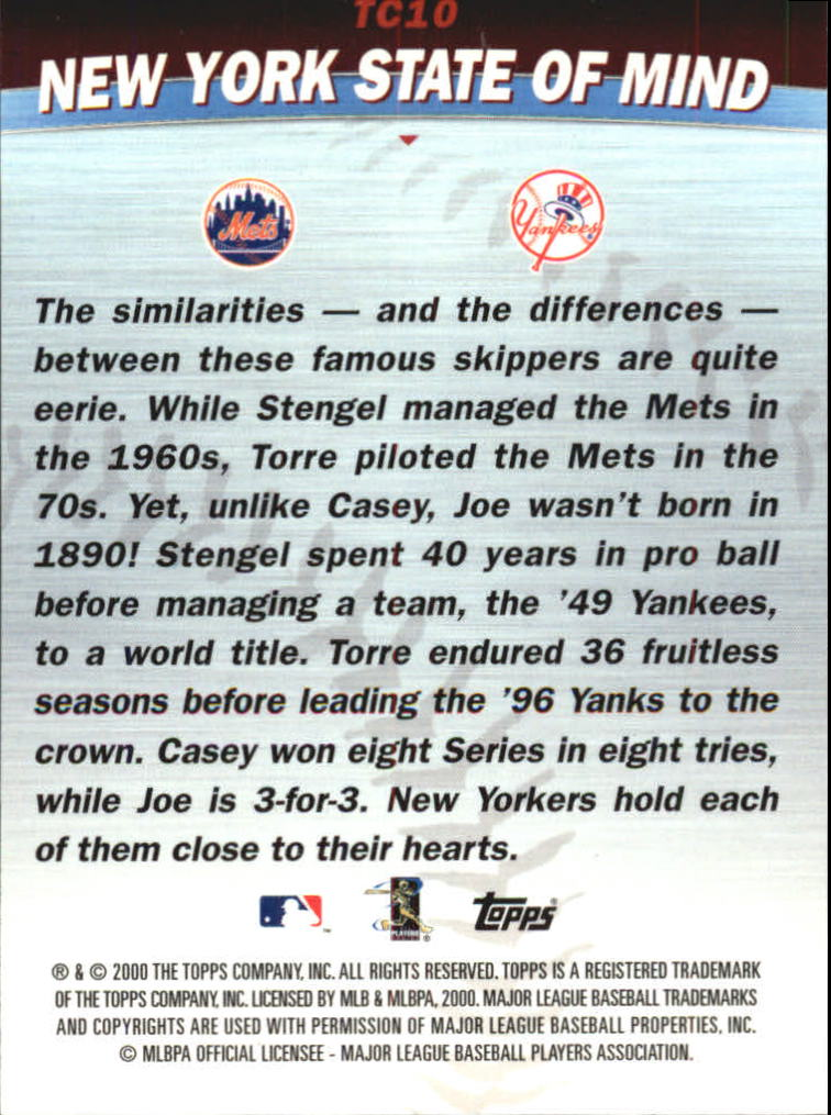 2001 Topps Combos #TC10 New York State of Mind back image