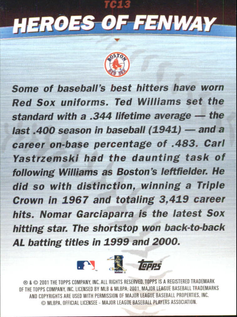 2001 Topps Combos #TC13 Heroes of Fenway back image