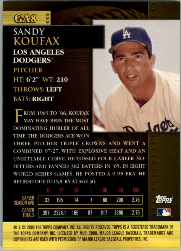 2001 Topps Golden Anniversary #GA8 Sandy Koufax back image