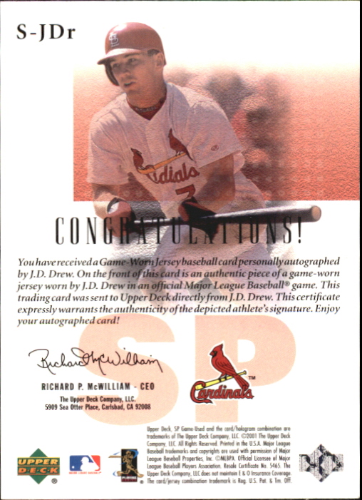 2001 SP Game Used Edition Authentic Fabric Autographs #SJDR J.D. Drew back image
