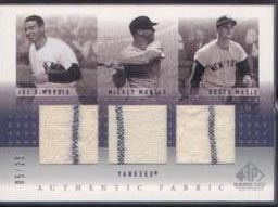 2001 SP Game Used Edition Authentic Fabric Trios #DMM Joe DiMaggio/Mickey Mantle/Roger Maris