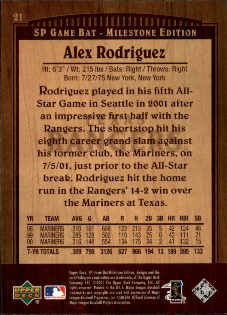 2001 SP Game Bat Milestone #21 Alex Rodriguez back image