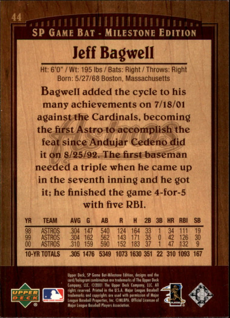 2001 SP Game Bat Milestone #44 Jeff Bagwell back image
