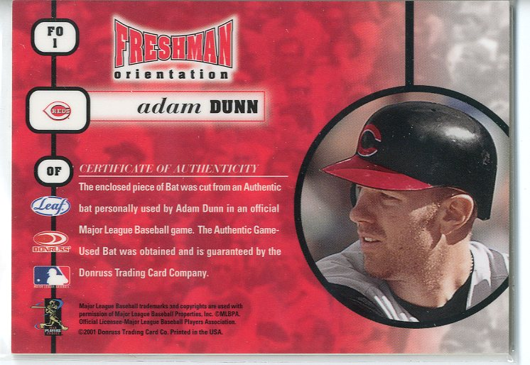 2001 Leaf Rookies and Stars Freshman Orientation #FO1 Adam Dunn Bat SP back image
