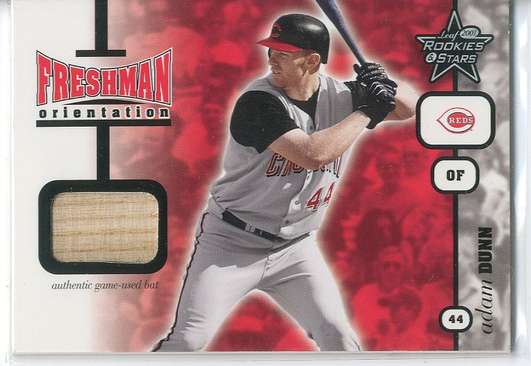2001 Leaf Rookies and Stars Freshman Orientation #FO1 Adam Dunn Bat SP