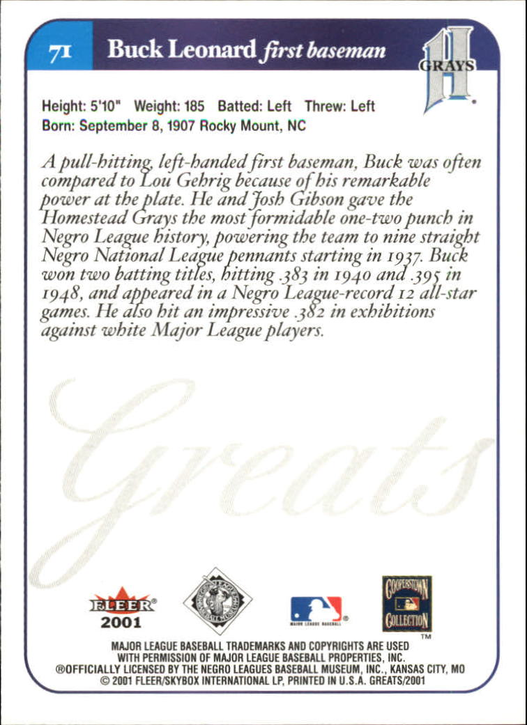 2001 Greats of the Game #71 Buck Leonard back image