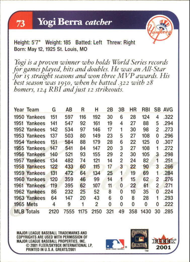 2001 Greats of the Game #73 Yogi Berra back image
