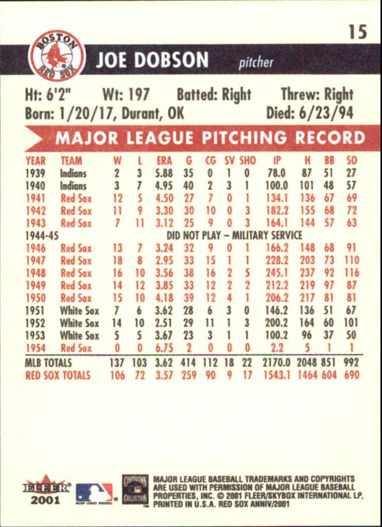 2001 Fleer Red Sox 100th #15 Joe Dobson back image