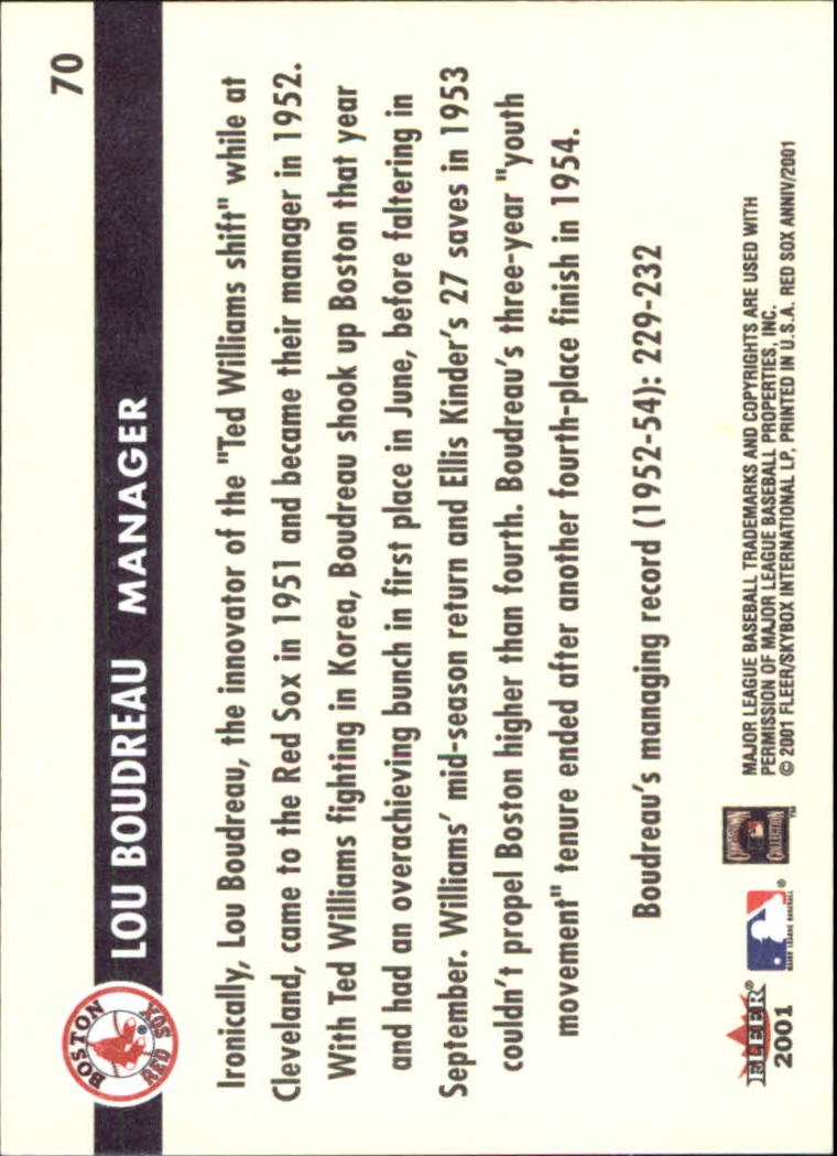2001 Fleer Red Sox 100th #70 Lou Boudreau MGR back image